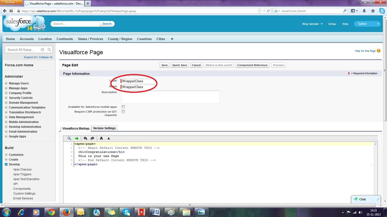 Develop page